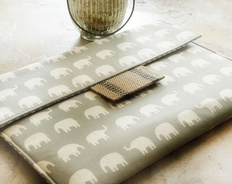 "Macbook Sleeve, Laptop Case, Macbook Air Cover, Laptop Sleeve, 13 or 11""  Macbook Case in Elephants and Burlap"