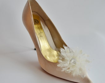 Ivory Tulle With Dots Flowers Shoe Clips Set of two