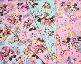 Disney fabric scrap Minnie  Mouse 25 cm by 25 cm or 9.6 by 9.6 inches each piece.