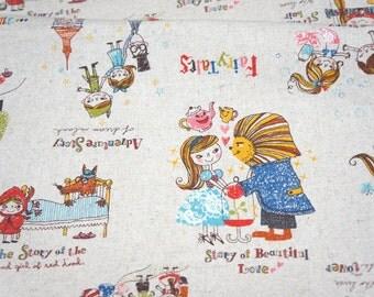 Japanese cotton linen Fairy tales print Alice In Wonderland Peter Pan Rapunzel Snow White Little red Riding Hood FAT QUARTER A21