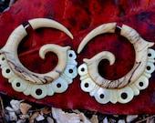 Fake Gauge Earrings - Mother Of Pearl & Gold Shell Fancy Tribal Expanders Hand Carved Organic Fake Piercings