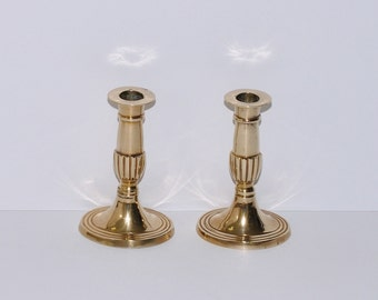 Vintage Solid Brass Candlestick Holders with Oval Bases, Pair