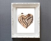 Driftwood Heart Photo Print Wall Decor - Neutral Colors Bathroom or Cabin Picture 8 x 10