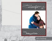 A Wonderful Life - Modern Geometric Christmas Holiday Photo Card - Family Picture Card, Baby, Newlywed  - Set of 25