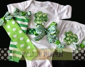 St. Patrick's Day Bodysuit, Bloomers and Leggings with Shamrock Applique and Monogram