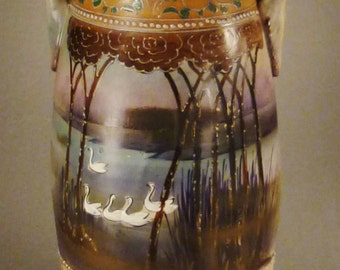 STUNNING NIPPON MORIAGE Swans in Lake Nouveau motifs  trees foliage Colorful hand painted app 13 in Tall Great Condition