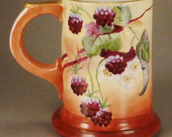 Victorian BAVARIA TANKARD Porcelain Handpainted Blackberries Orange Purple Signed by artist 1904 app 6in tall Germany