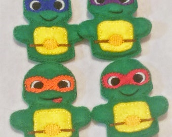 Turtle Finger puppets   Set of 4 Educational, great for travel and activity bags busy books quiet books
