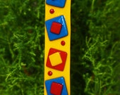 Garden Art Home Decor - Yellow Red Blue Fused Glass Stake