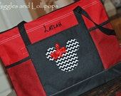Personalized large zippered Disney tote bag Mickey or minnie mouse chevron