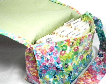 Large Coupon Organizer, Coupon Binder, Coupon Holder, Coupon Purse, Floral Watercolor Fabric