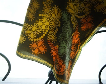 Vintage Vera Scarf | Mod Design | Brown and Turquoise | Yellow and Orange | Gift for Mom | Mother's Day