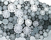 Snowflake oil painting: Winter's Lineage, black and white painting, original oil painting on canvas, snow flakes, florals, mums