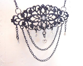 Black filigree necklace labyrinth Masquerade ball inspired black with crystals perfect for an elegant wedding or bride or special date night