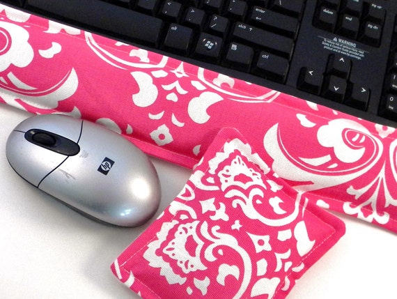 Microwave Heating Pad Wrist Rest Support, Computer Keyboard Mouse, Hot Cold Pack, Office Gift Desk Set, Girl Geek Gift, Dorm Room Decor pink