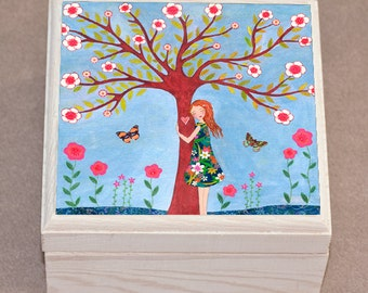 Jewelry Box, Nature Lover Jewelry box - Tree Hugger Jewelry Box - Handmade Jewelry Box - Wooden Jewelry Box Trinket Box
