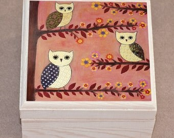 Wise Owl Jewelry Box, Handmade Owl Gift