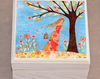 Wooden Jewelry Box Trinket Box, Girl with Birdcage Painting