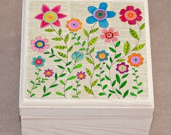 Bohemian Flower Jewelry Box, Watercolor Flower Collage Painting, Bohemian Gift, Bohemian Home, Boho Jewelry Box, Boho Wooden Box, Bohemian