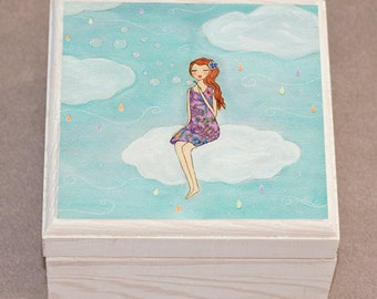 Wooden Jewelry Box Trinket Box, Girl Blowing Bubbles on a Cloud