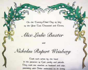 Lily of the Valley Quaker Marriage Certificate