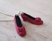 Ruby Red Slippers Necklace - Wizard of Oz Necklace - Dorthy's Red Shoes - Polymer Clay