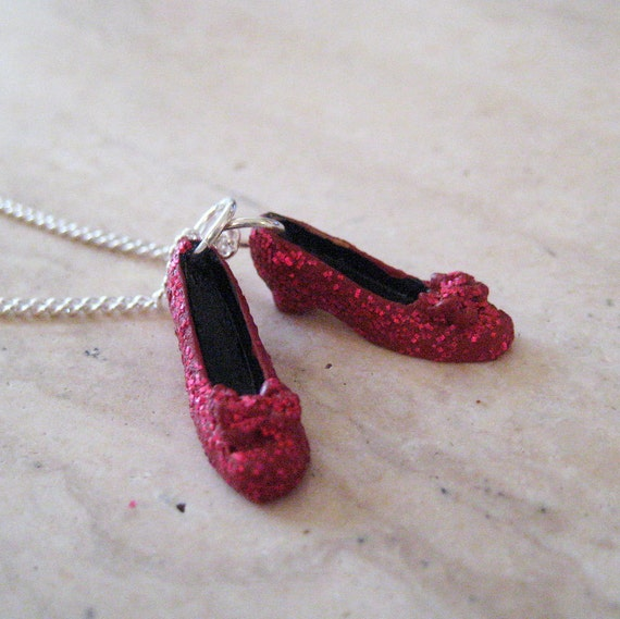 Ruby Red Slippers Necklace - Wizard of Oz Necklace - Wicked Jewelry - Polymer Clay