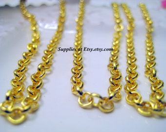 Bulk  Special Sale Gold  Link Rolo Chain-Chunky  Gold Chain DIY jewelry Findings  lead free nickel free