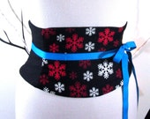 Snowflake Corset: Black, Red, and Ivory Waist Cincher Any Size Obi Belt