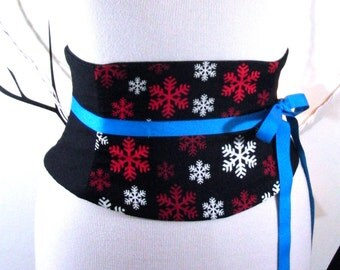 Snowflake Corset: Black, Red, and Ivory Waist Cincher Any Size Obi Belt