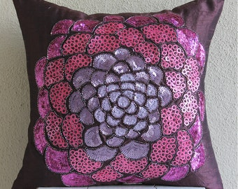 "Handmade Purple Pillow Cases, 16""x16"" Silk Pillows Cover, Square  Sequins & Beaded Flower Medallion Pillows Cover - Pink WildFlower"