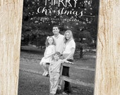 Custom Photo Christmas Card - Digital file or Printed Cards - Photo Holiday Card - Black and white stripes- simple - confetti - full photo