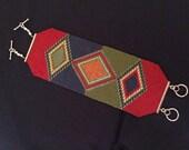 Loom or 1 Drop Odd Peyote Bead Pattern - Trifecta Diamonds Cuff Bracelet