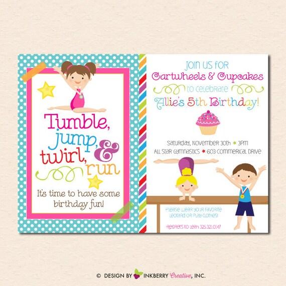 Gymnastics Birthday Party Invitation Boy Girl Version