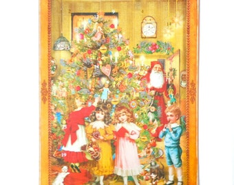 Decorating the Tree Victorian Santa Christmas Advent Calendar German Paper Advent Father Xmas Saint Nicholas