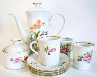 JL Menau Demitasse Set coffee pot sugar bowl two cups and saucers espresso set German Democratic Republic