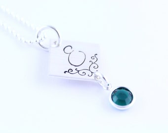 Sterling Silver Initial Birthstone Necklace - Christmas Gift - Hand Stamped Necklace - Handstamped