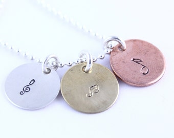Mixed Metal Necklace - Copper Brass Aluminum - Christmas Gift - Hand Stamped Necklace - Handstamped Gift for Music Lover