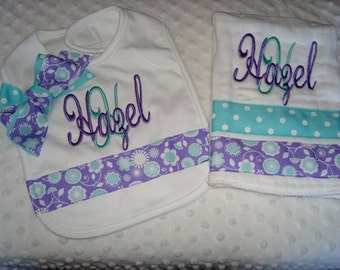 Hazel Personalized Bib and Premium Quality Boutique Style 6-Ply Burp Set-Name and/or up to 3 initials