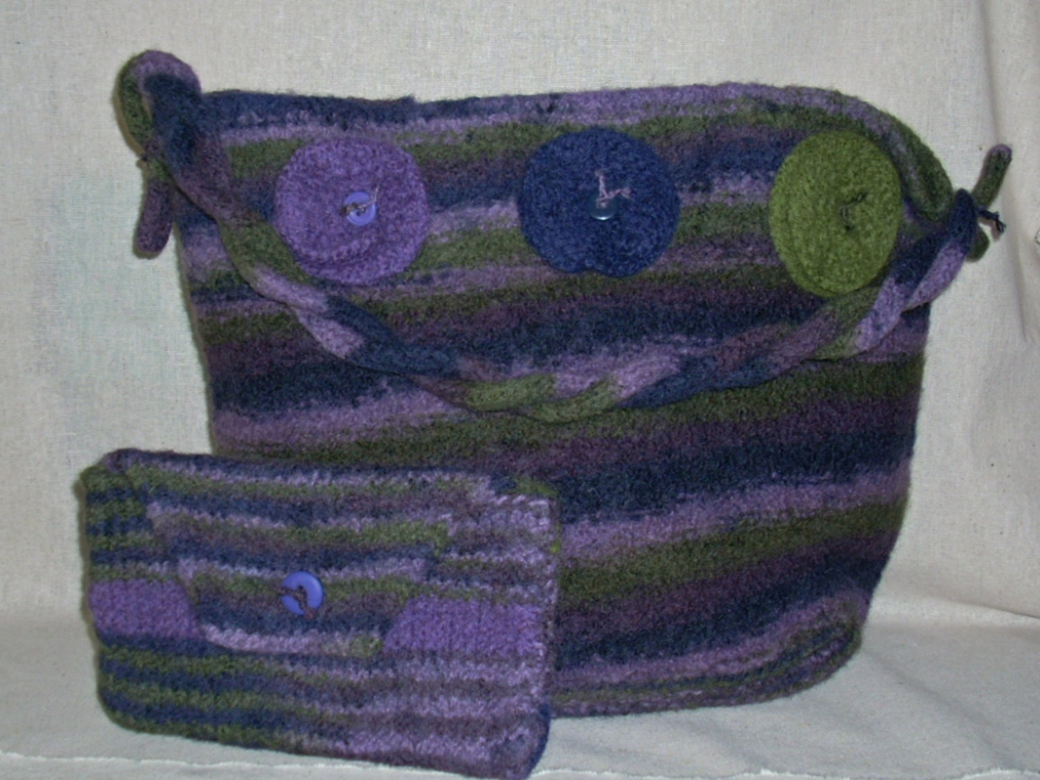 Rose Hand Knit Felted Bag and Cosmetic Clutch in Navy Olive