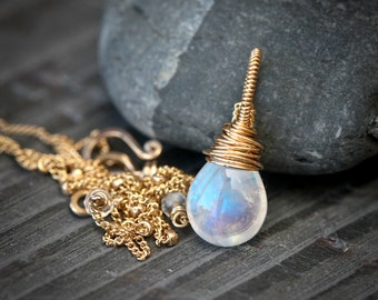 Moonstone - Gold Filled Wire Wrapped Necklace