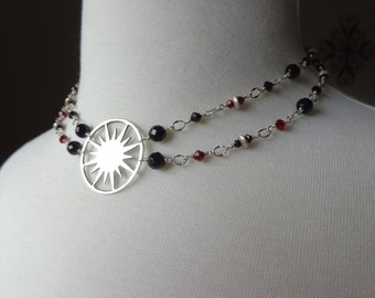 Red and Black Double Strand Crystal Necklace with Sterling Silver Sunburst Pendant
