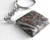 Crinoid Fossil Jasper Key Chain, Charcoal Grey Key Ring, Men's Accessory