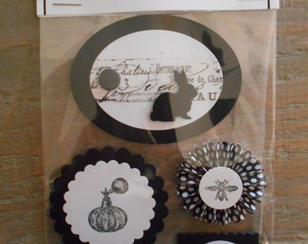 Embellishments for Scrapbooking, Card Making, Gift Bags, Presents and Mini Albums FRENCH INSPIRED in Black and White