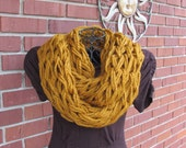 Arm knit chunky infinity cowl in butterscotch