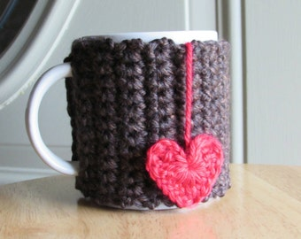 Crocheted cup cozy mug cozy in sequoia brown with crocheted heart