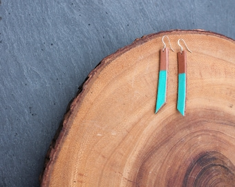 Leather Earrings with Turquoise Color