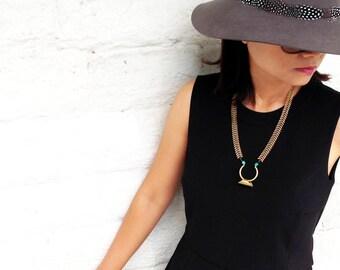 statement necklace, boho spine chain necklace, geometric pendant, chunky tube statement jewelry, brass jewelry