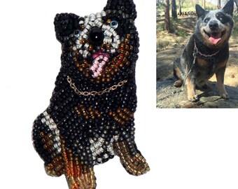 CUSTOM beaded DOG/ cat/ bird/ rabbit/ ginuea pig pet keepsake pin pendant jewelry (Made to Order)