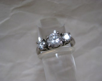 Shabby Clear Stone Silver Ring Vintage Size 6
